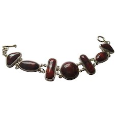 Sterling Silver burnt orange gemstone bracelet