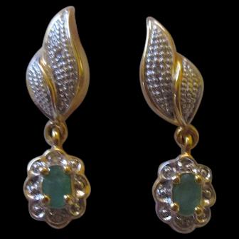 Post earrings 14k Gold filled emerald/diamond