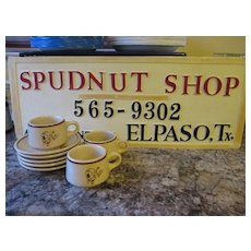 Vintage Spudnut Donut sign/coffee cups, saucers