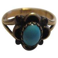 Beautiful Vintage 14k sleeping beauty turquoise ring, pinky ring sz 5