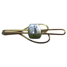 Vintage hand painted golfer tie clip Ro-Lon Gold filled