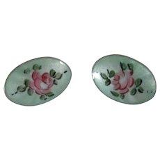 Vintage 1940's screw back Guilloche earrings