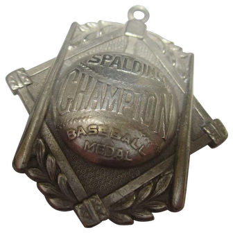 Historical Spaling Champion baseball metal, for Jefferson Barracks, by Dieges & Clust sterling pendant