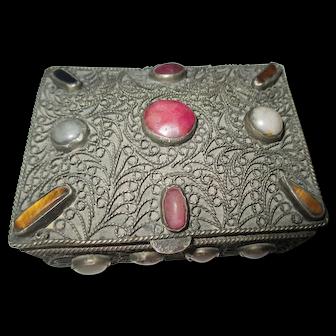 Muliti Gem Stone trinket box