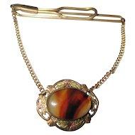 Vintage banded agate 12K. G.F tie clip