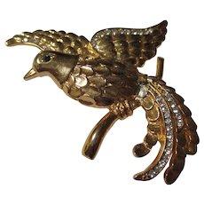 Large rhinestone gold tone bird