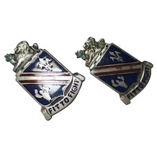 Vintage Pair Military Fit To Fight sterling/ enamel by Dondero inc.  pins