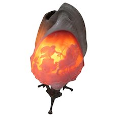 Hand carved helmet Conch Shell night light.