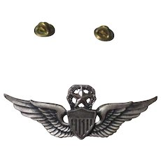 Vintage Aviation Military wing pin 1/20 Silver Filled