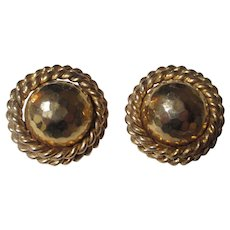 Large button style gold tone earrings by Erwin Pearl