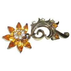 Vintage Coro/dangle floral/yellow rhinestone brooch