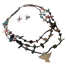 Native American Fetish necklace/earrings