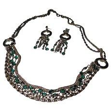 Green Glass Bezel necklace/earring set.