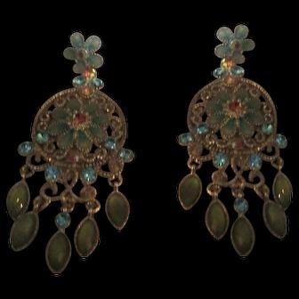 Pretty enamel, rhinestone dangle earrings
