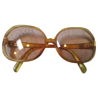 Vintage Christian Dior Clear Honey sunglasses/C.D. glass case