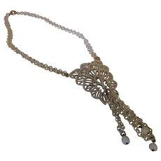 Vintage crown Trifari white enamel long dangle necklace