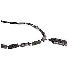 Art Deco Rhodium plated enamel necklace