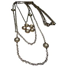 Vintage Celebrity triple strand chain, with round glass motif necklace