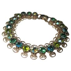Vintage light and dark green AB glass rhinestone bracelet