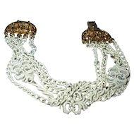 Vintage Monet white enamel bracelet