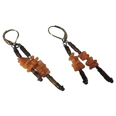 Coral, pen shell sterling earrings