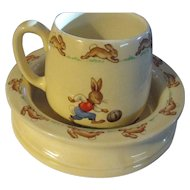 Early 2 stamped Royal Doulton Bunnykins set