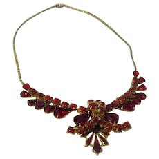 Gorgeous Red glass rhinestone, red enamel necklace