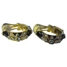 Collectable Heidi Daus black enamel, crystal earrings