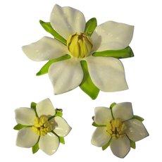 Sarah Cov. large enamel flower brooch/earrings