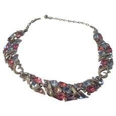 Vintage Trifari pastel glass rhinestone necklace