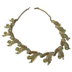 Vintage tan/beige/ yellow rhinestone necklace