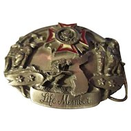 Collectable pewter belt buckle/Veterans of Foreign wars of the U.S/enamel
