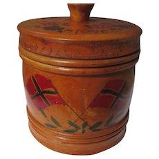 Folk Art wood trinket box, hand painted engraved 1945