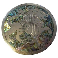 Vintage Lion/Sterling/Mexico/mother of pearl Brooch