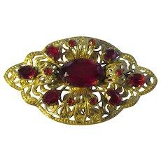 Vintage Red rhinestone/brass/Czech Brooch