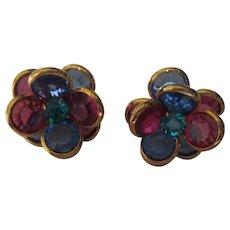 Glass Bezel post style earrings