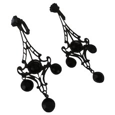 Vintage Black enamel/blk bezel rhinestone chandlier earrings