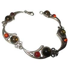 Amber, Sterling silver bracelet.
