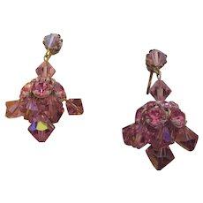 Vintage pink rhinestone dangle earrings