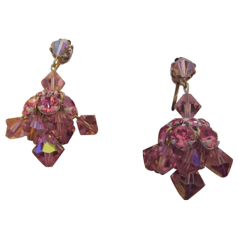 Vintage pink rhinestone dangle earrings