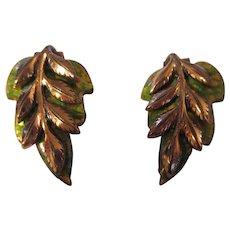 Vintage Matisse green Oak leaf earrings