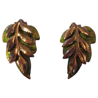 Vintage Matisse green Oak leaf earrings