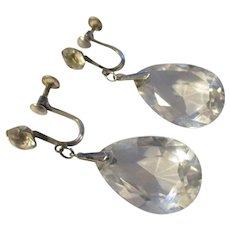 Art Deco Sterling, Rock Crystal dangle earrings