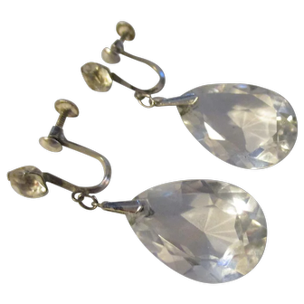 Art Deco Sterling, Rock Crystal dangle earrings