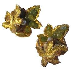 Vintage Swoboda gemstone, leaf pearl earrings