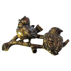 Vintage Emmons two baby sparrows on stems