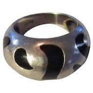 Sterling black enamel ring