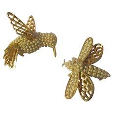 Matching pair Kramer Humming bird, flying bee.