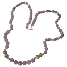 Amethyst, 14k yellow gold, cloisonne porcelain beaded necklace