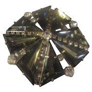 Gray slanted triangle glass rhinestone, clear shiny rhinestone brooch